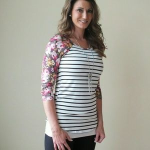 Floral and Stripes Baseball Top