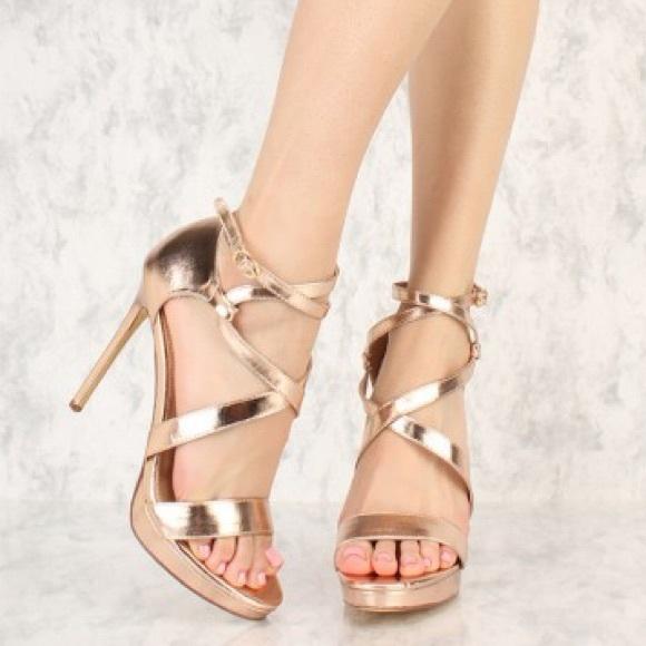 b5a63f45b4d7a Liliana Shoes - Liliana Rose Gold Ankle Wrap Platform Heels