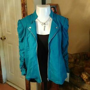 Jaclyn Smith Tops - Shirred sleeve knit jacket