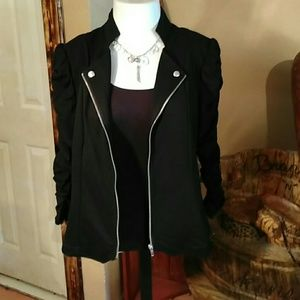 Jaclyn Smith Tops - Shirred Sleeve Black Knit Jacket