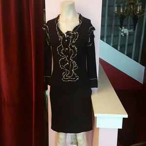 Long sleeve black dress with pearls