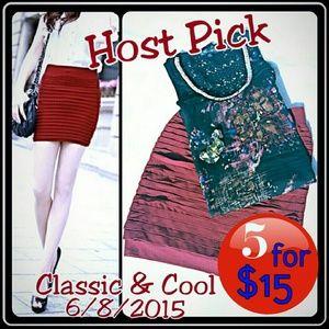 Wine Red Stretch Mini Skirt