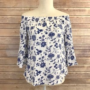 Tops - PRICE FIRM Off-Shoulder Floral Bell Sleeve Blouse
