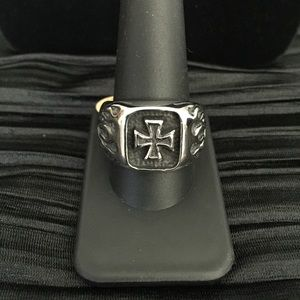 Stainless Steel Iron Cross and Flames Biker Ring