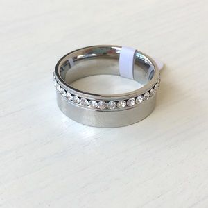 Jewelry - Thumb Ring Shiny Silver Stainless Steel CZ Bling
