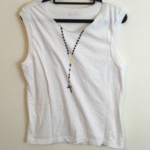 D&G Tops - D&G White Rosary Printed Sleeveless Shirt