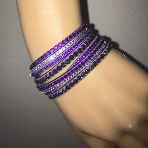 Crystal Leather Wrap Rhinestone Bracelet