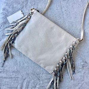 UGG Leather Lea Beaded Cross-body Bag in White