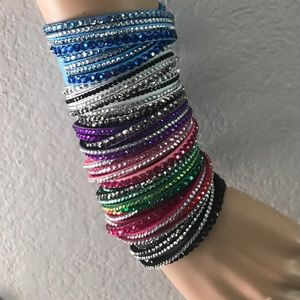 Crystal Leather Wrap Rhinestone Bracelets