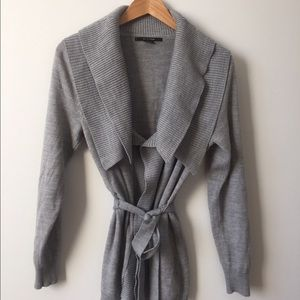 89TH & MADISON Sweaters - 89TH & Madison Gray Belted Open Front Cardigan