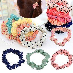 Handmade Polka Dot Scrunchies Hair Ties (3 Pack)