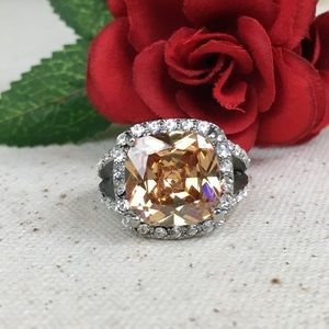 CZ Champagne Diamond & Austrian Crystal SS Ring