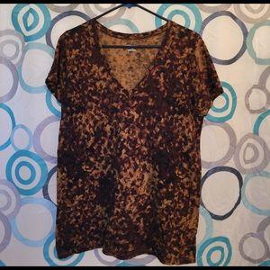 Merona top short sleeve brown design nice Large