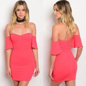 Boutique Dresses & Skirts - Dark Coral Off-Shoulder Ruffle Mini Dress