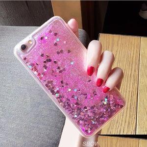 iPhone Pink Heart Liquid Glitter Case
