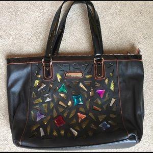Nicole Lee Handbags - Black tote bag with jeweled front