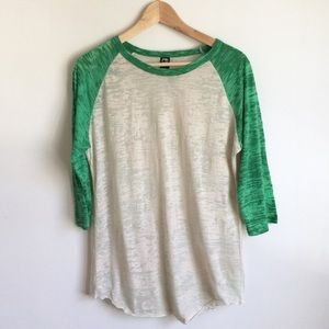 Alternative Apparel Tops - ALTERNATIVE APPAREL | Green Burnout Baseball Tee