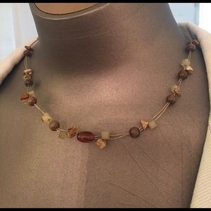 Lia Sophia tiger eye agate beads on wire choker