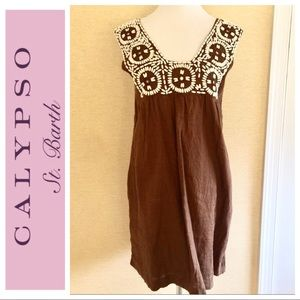 Calypso St. Barth Dresses & Skirts - Calypso size small brown dress with white beading
