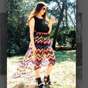 Dresses & Skirts - multi-colored chevron hi/low maxi dress
