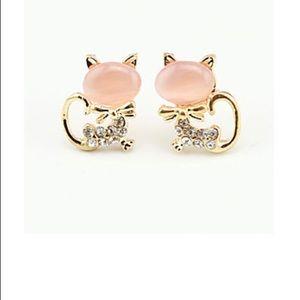 Curvy Couture Jewelry - Cute Little Kitty Cat Earrings Rhinestone NWT