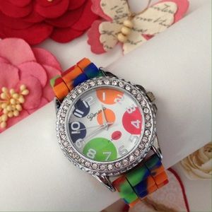 Geneva Platinum Accessories - New Geneva Platinum Rainbow Rhinestone Watch