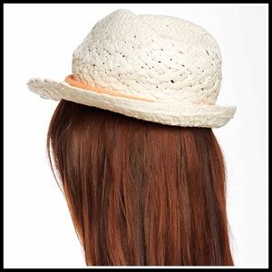 4597cc2bec1 David   Young Accessories - IVORY WOVEN FEDORA PANAMA BOW TRIM SUN HAT