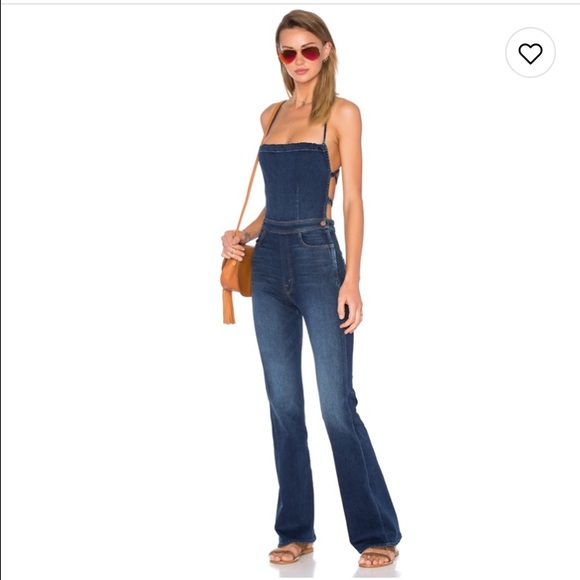 2019 factory price high quality search for clearance Mother denim tie back denim jumpsuit
