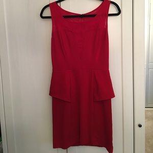 Guess Dresses & Skirts - Red Peplum w/ Sheer Detail Dress
