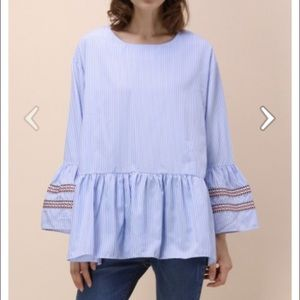Chicwish Blue Stripe Embroidered Top NWOT Small
