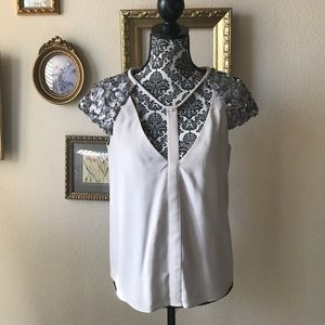 BCBG Cream Top 100% Silk