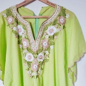 Vintage 60s / 70s Embroidered Green Kaftan Dress