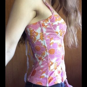 Anthropologie Tops - Ticci Tonetto Bustier Corset Flower Top