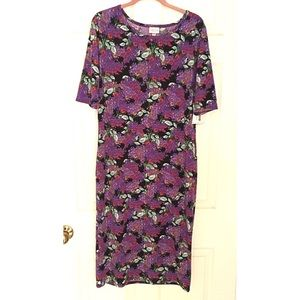 LuLaRoe Julia Floral Dress Purple Black Runs Small