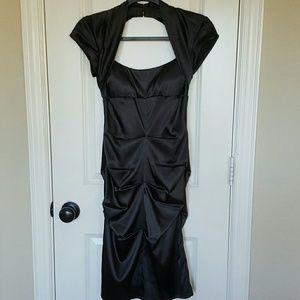 Nightway Dresses & Skirts - Black Sateen Cocktail Dress