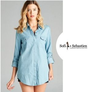 Boutique Tops - Roll up sleeve chambray tunic new light blue