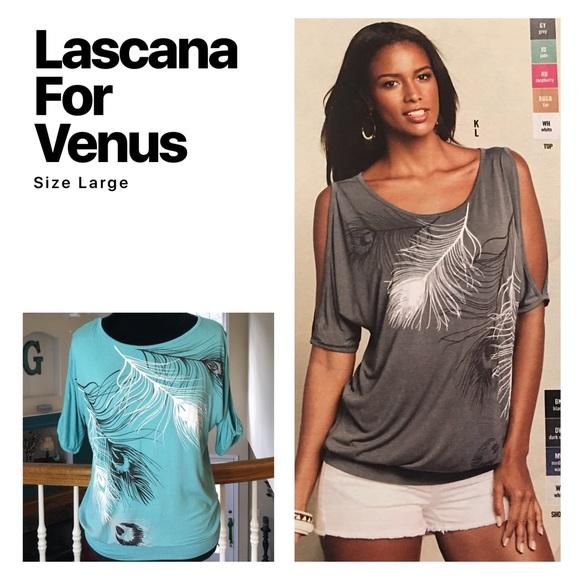 721f0f0a173cbe Lascana Tops   Feather Print Cold Shoulder Top   Poshmark