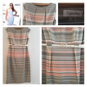 Calvin Klein Stripe Belted Sheath Dress