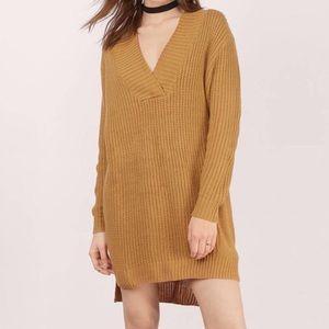 Tobi Dresses & Skirts - TOBI Camel Ribbed Oversized Sweater Dress - SIZE L