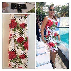Jessica Simpson  Floral/Polka/Dot Sheath Dress
