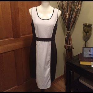 LOFT brown and cream color shift dress