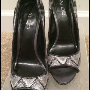 d87a19db837 Aldo Shoes - Black and Silver Aldo Heels Prom or Formal