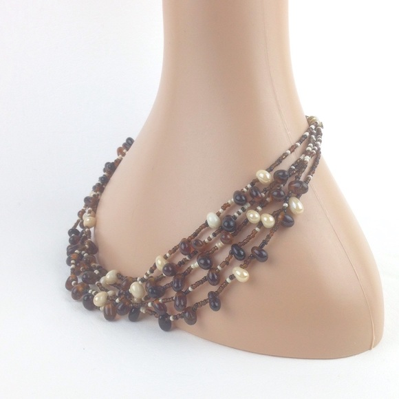 Jewelry - Brown & cream beaded multi strand necklace