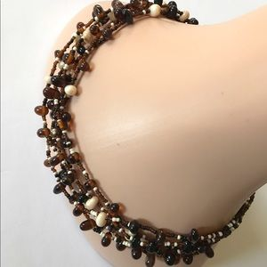 Brown & cream beaded multi strand necklace