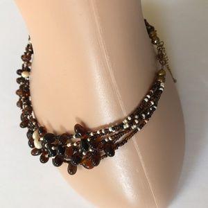 Jewelry - Brown & cream beaded multi strand necklace