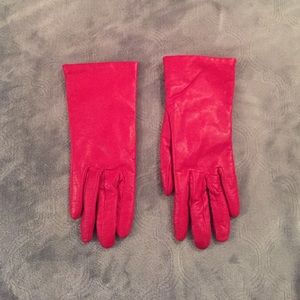 Vintage Accessories - Red leather cashmere lined gloves