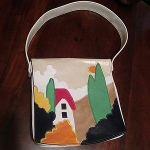Vintage Handbags - Vintage White Pictorial Flap Front Handbag