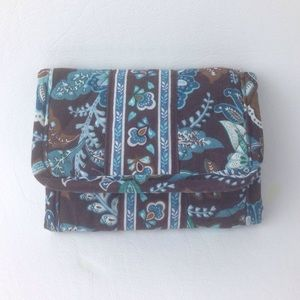 Vera Bradley brown and blue paisley trifold wallet