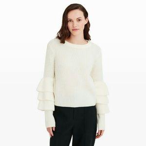 Club Monaco Sweaters - Club Monaco Asal Layered Sleeve White Sweater