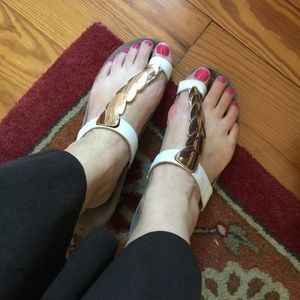 Mephisto Shoes - Mephisto white and rose gold gladiator sandals